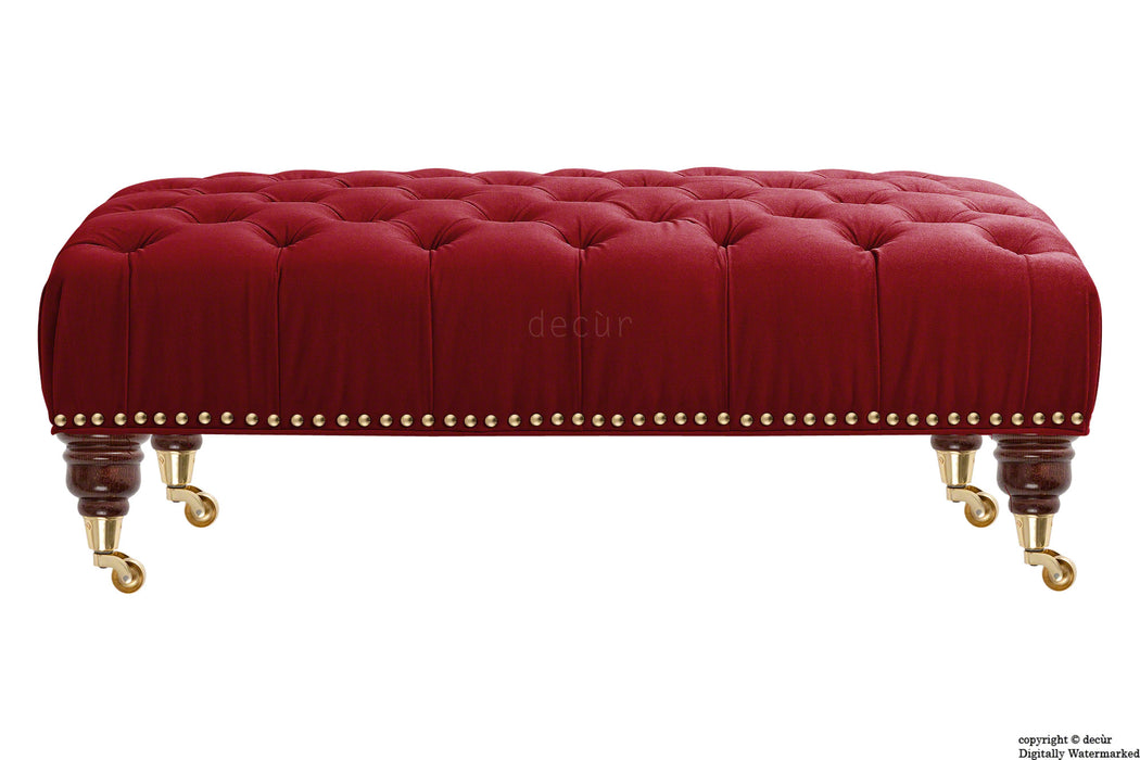 Catherine Buttoned Velvet Footstool - Red with Optional Storage