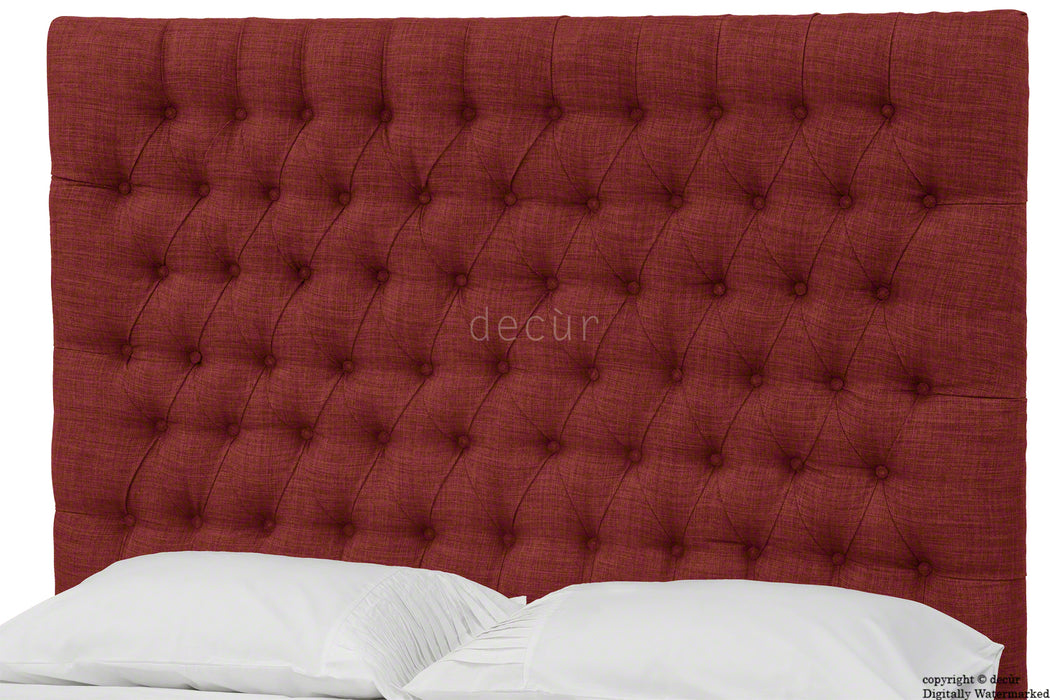 Kensington Buttoned Linen Headboard - Wine