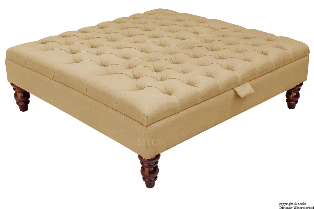 Tiffany Buttoned Linen Footstool Large - Honey with Optional Storage