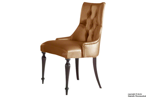 Louis Winged Deep Buttoned Dining Chair- Tan