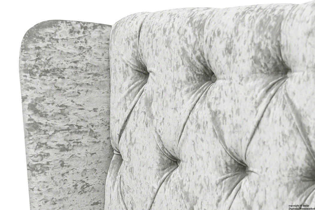 Eliza Winged Buttoned Crushed Velvet Headboard - Silver