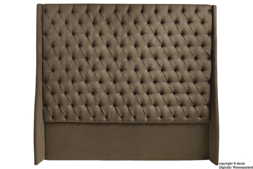 Abbingdon Buttoned Winged Velvet Headboard - Mushroom