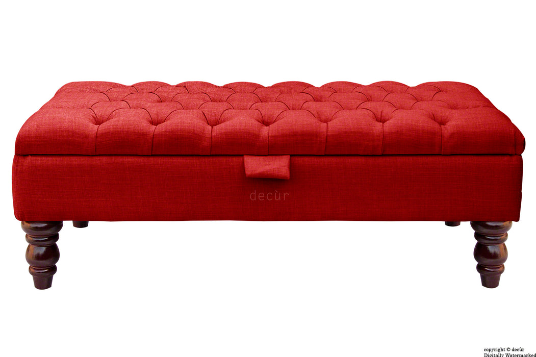 Tiffany Buttoned Linen Footstool - Ruby with Optional Storage
