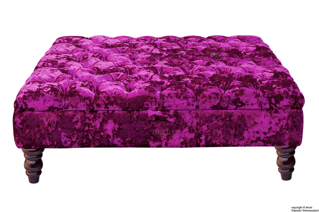 Tiffany Buttoned Crushed Velvet Footstool Large - Glamour with Optional Storage