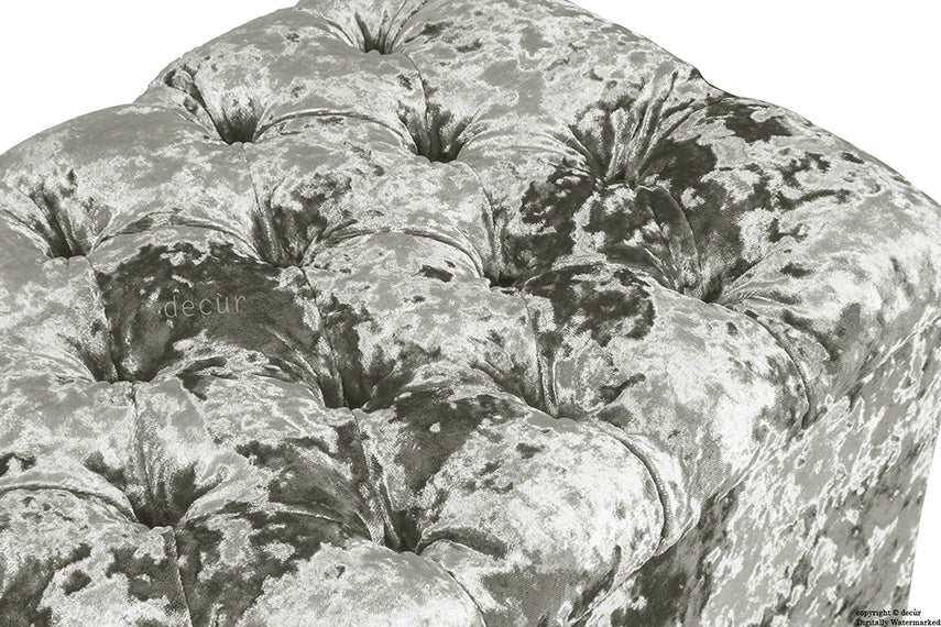 Viscount Crushed Velvet Ottoman - Mistral