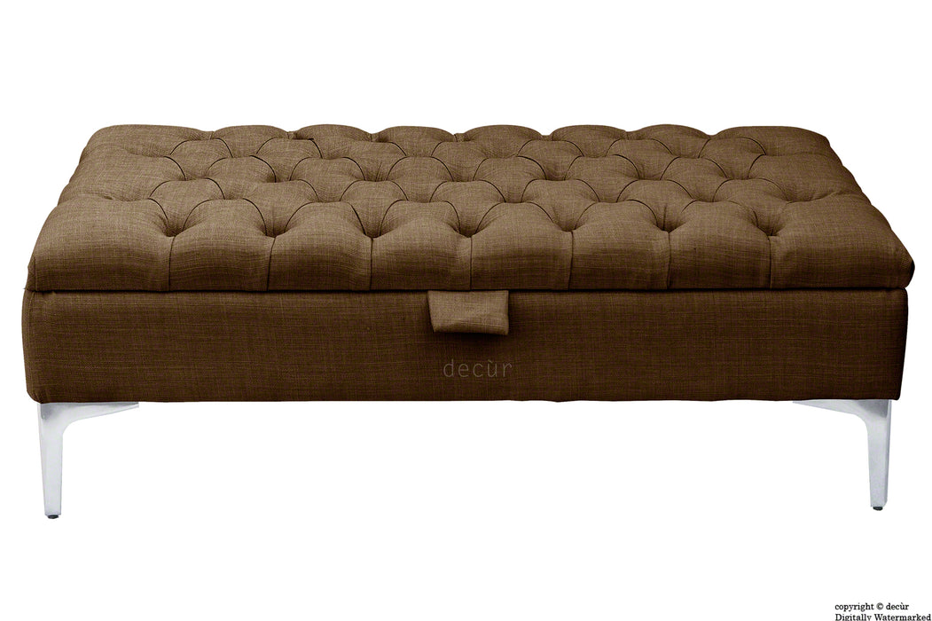 Tiffany Modern Buttoned Linen Footstool - Brown with Optional Storage
