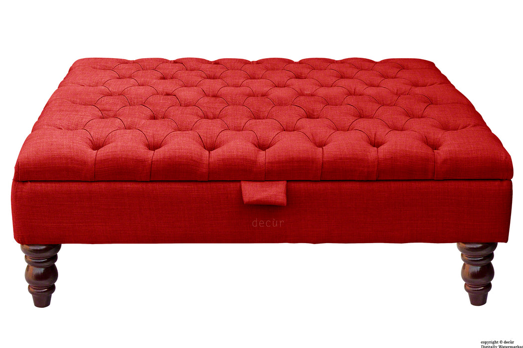 Tiffany Buttoned Linen Footstool Large - Ruby with Optional Storage