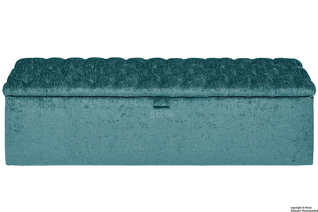 Viscount Chesterfield Chenille Ottoman - Teal