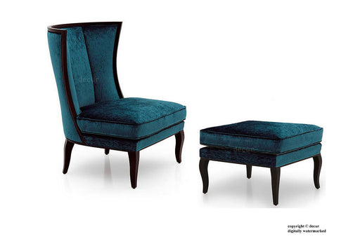 Meghan Art Deco Lounge Chair & Footstool