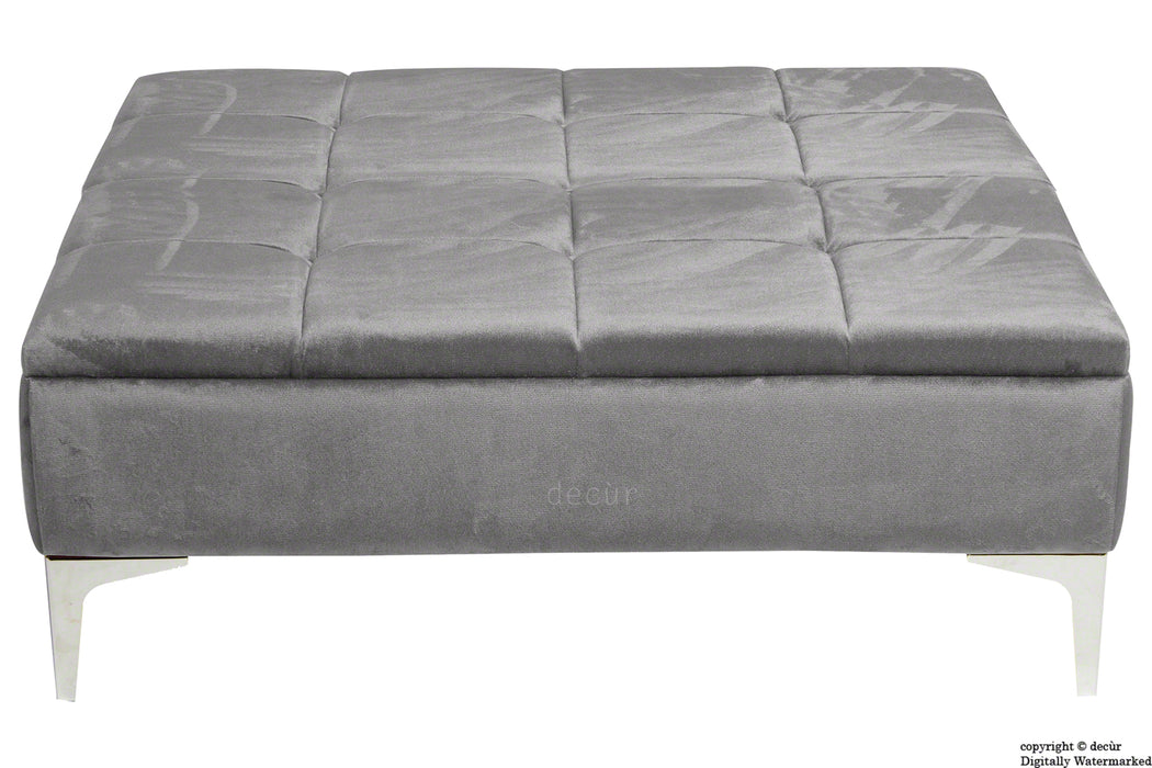 Mila Modern Buttoned Velvet Footstool Large - Seal with Optional Storage