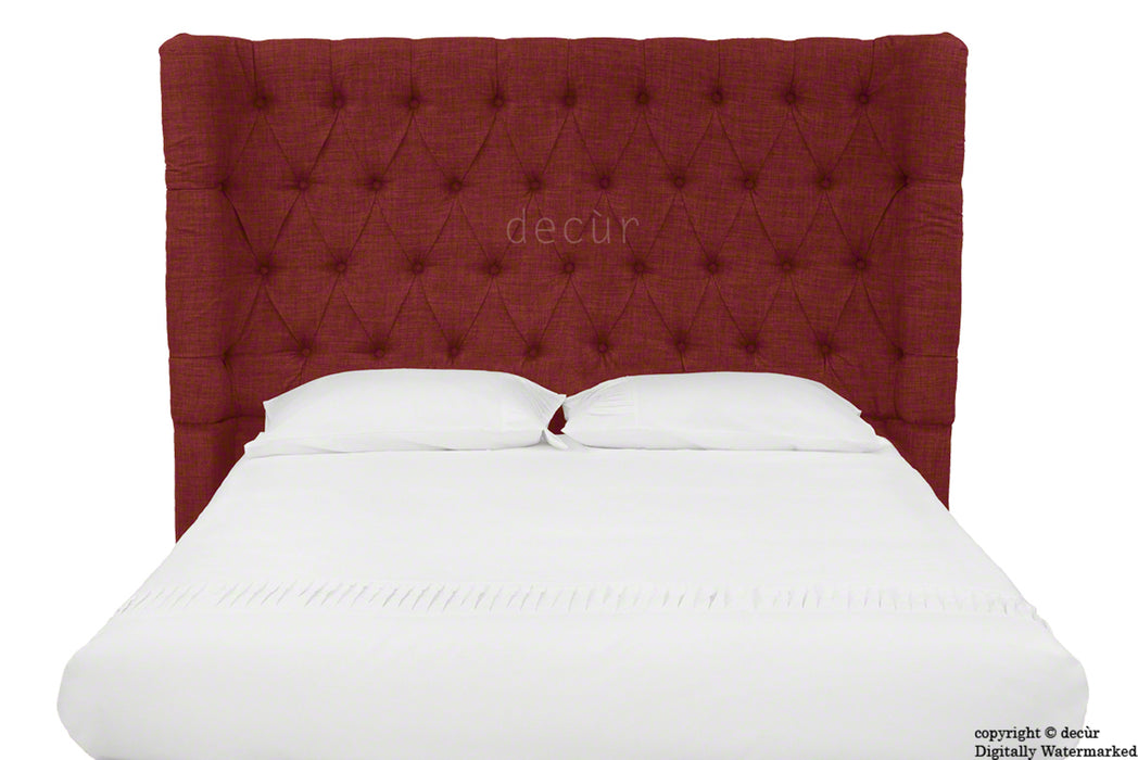 Hollyrood Buttoned Linen Winged Headboard - Wine
