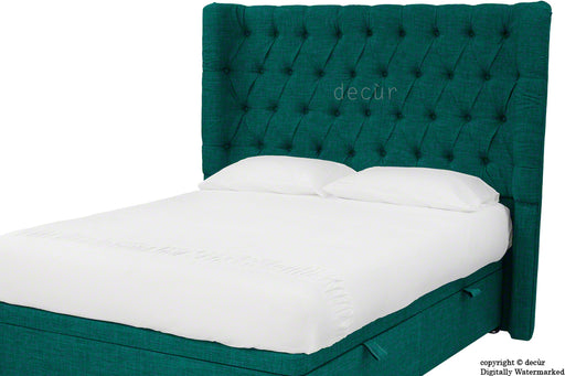 Hollyrood Buttoned Linen Winged Headboard - Teal