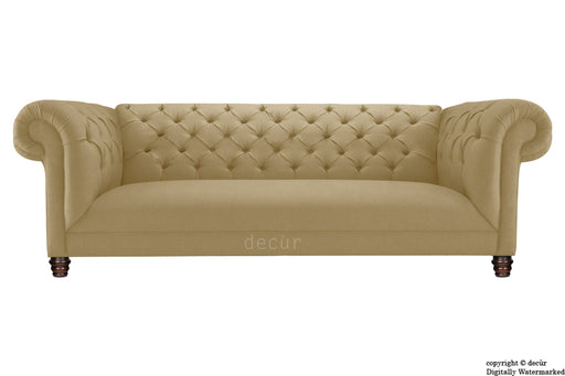Albert Chesterfield Linen Sofa - Chocolate