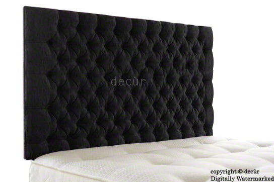 Tiffany Harrogate Buttoned Wall High Chenille Headboard - Black