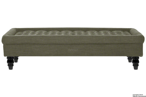 Cavendish Buttoned Linen Footstool - Fudge