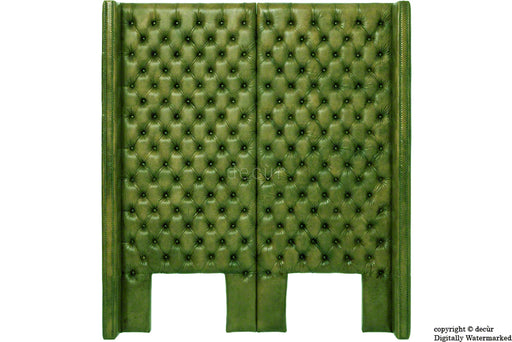 Beauchamp Buttoned Courtyard Leather Headboard Alga Green