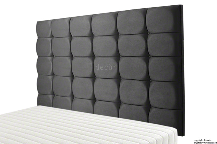Grace Mila Faux Suede Buttoned Headboard- Black