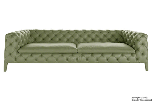 Rochester Leather Chesterfield Sofa - Sage Leaf