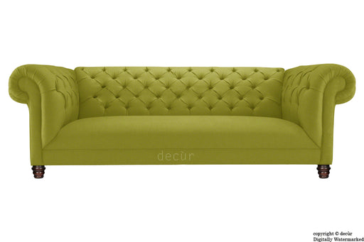 Albert Chesterfield Linen Sofa - Olive