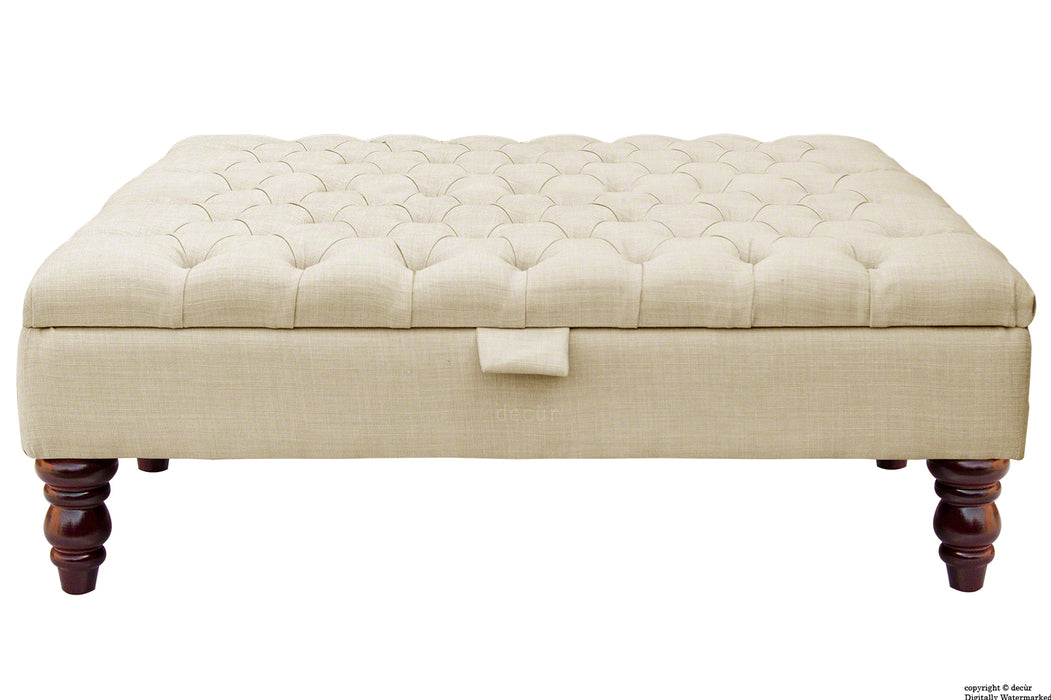 Tiffany Buttoned Linen Footstool Large - Cream with Optional Storage