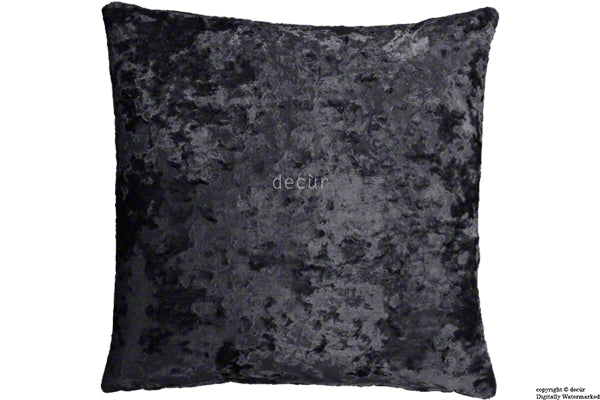 London Crushed Velvet Cushion - Night