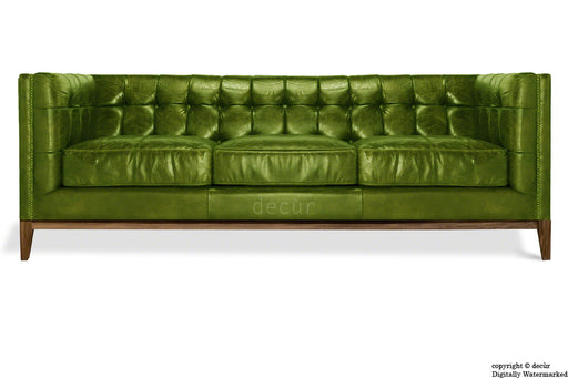 Mayfair Leather Sofa - Alga Green