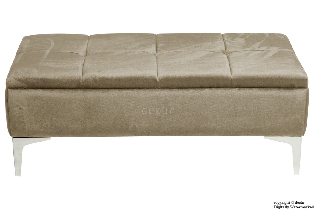 Mila Modern Buttoned Velvet Footstool - Putty with Optional Storage