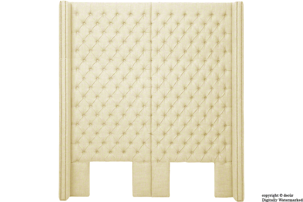 Beauchamp Buttoned Courtyard Linen Headboard Pearl