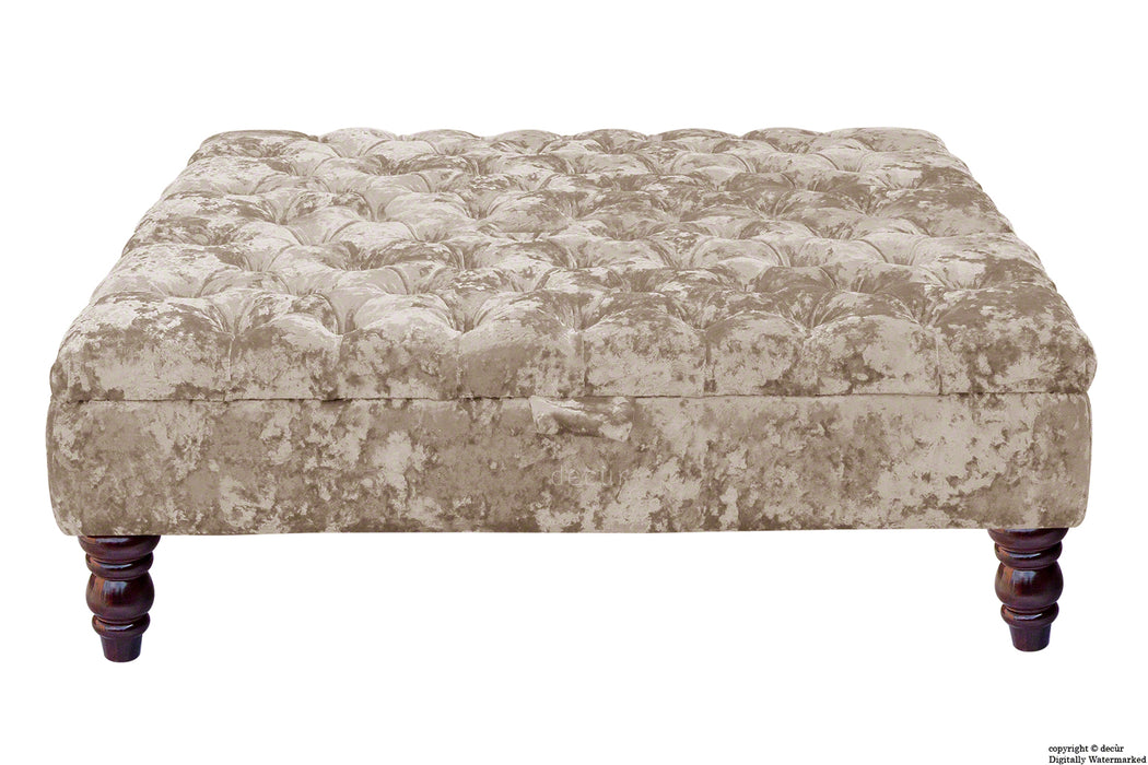 Tiffany Buttoned Crushed Velvet Footstool Large - Moonlight with Optional Storage