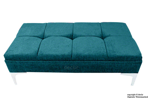Mila Buttoned Footstool - Teal with Optional Storage