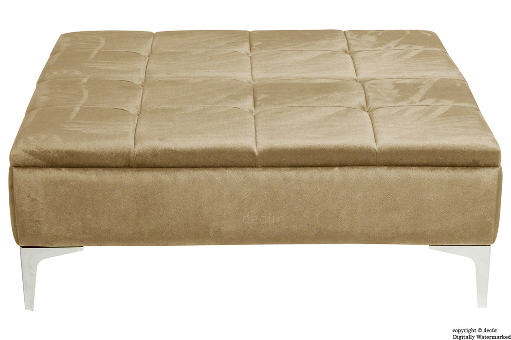 Mila Modern Buttoned Velvet Footstool Large - Parchment with Optional Storage