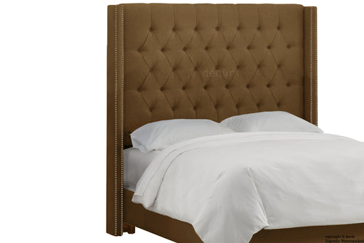 Balmoral Buttoned Linen Winged Headboard - Coffee