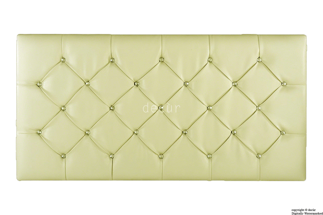 Boutique Crystal X Series Headboard - Beige Faux Leather