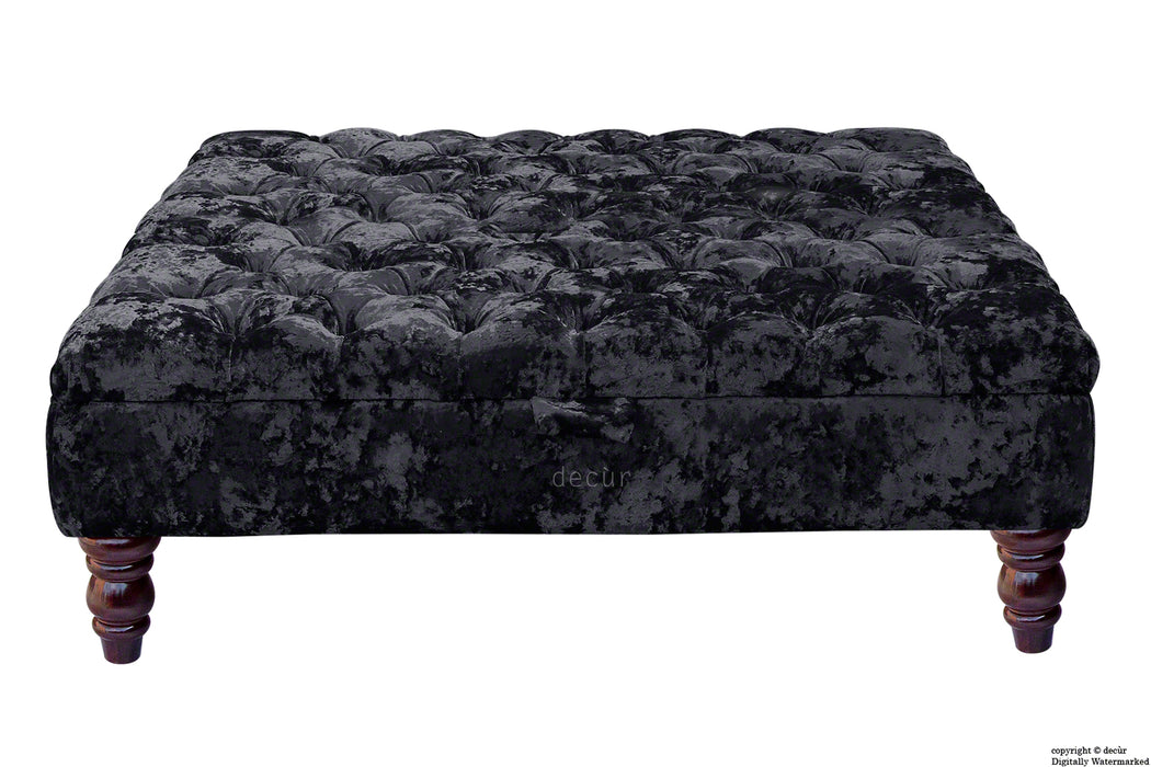 Tiffany Buttoned Crushed Velvet Footstool Large - Night with Optional Storage