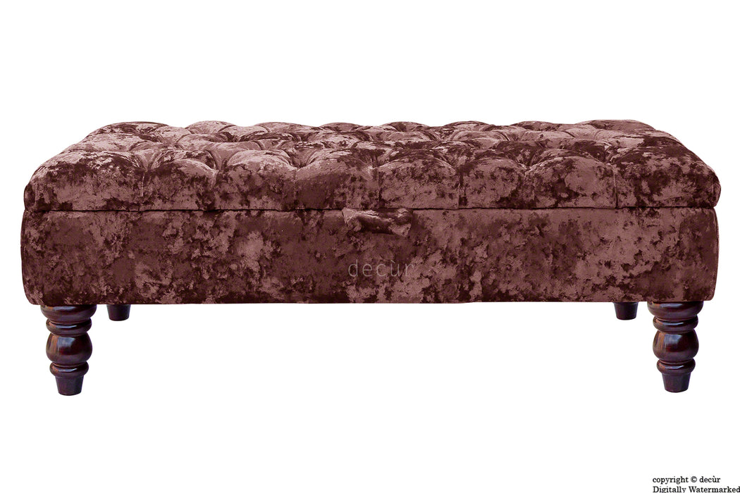 Tiffany Buttoned Crushed Velvet Footstool - Magenta with Optional Storage