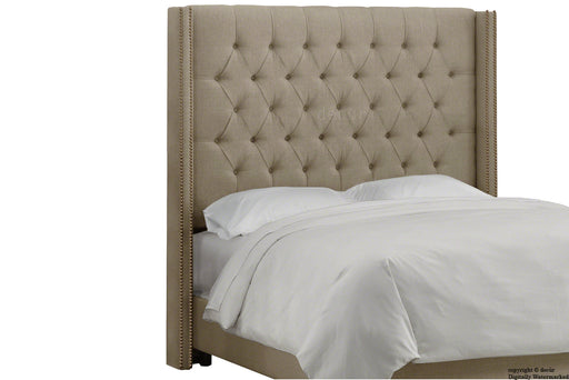 Balmoral Buttoned Linen Winged Headboard - Fudge