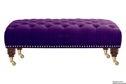 Catherine Buttoned Velvet Footstool - Amethyst with Optional Storage