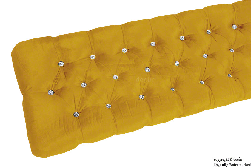 Serena Buttoned Velvet Footstool Bench - Gold