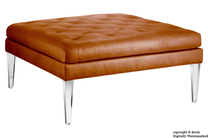 Faith Modern Buttoned Leather Footstool - Tan