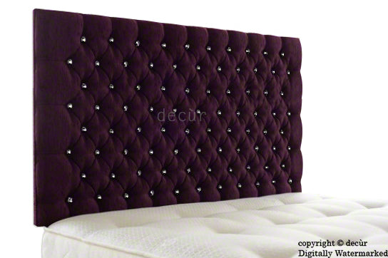 Tiffany Harrogate Buttoned Wall High Chenille Headboard - Aubergine