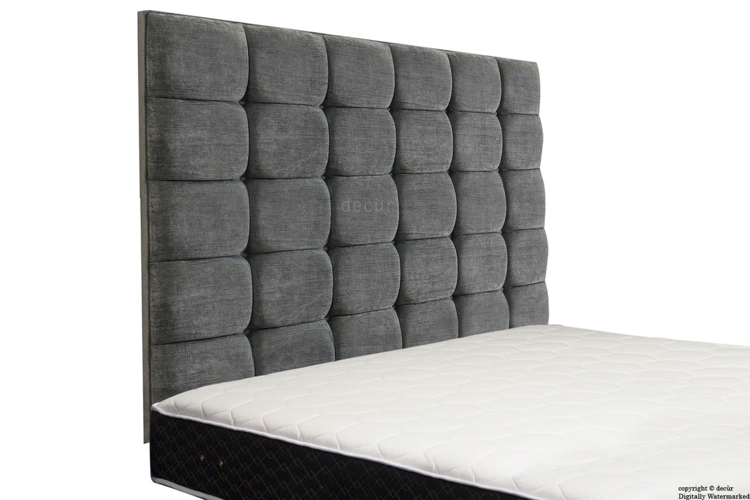 Grace Mila High Buttoned Wall Headboard - Charcoal
