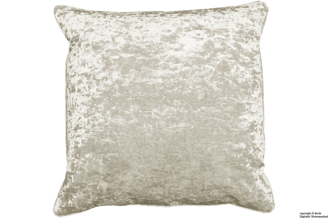 Serenity Crushed Velvet Cushion - Oyster