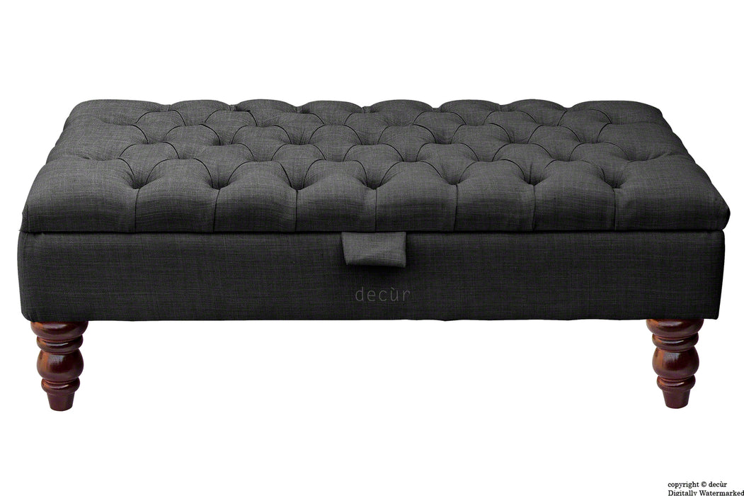 Tiffany Buttoned Linen Footstool - Ebony with Optional Storage