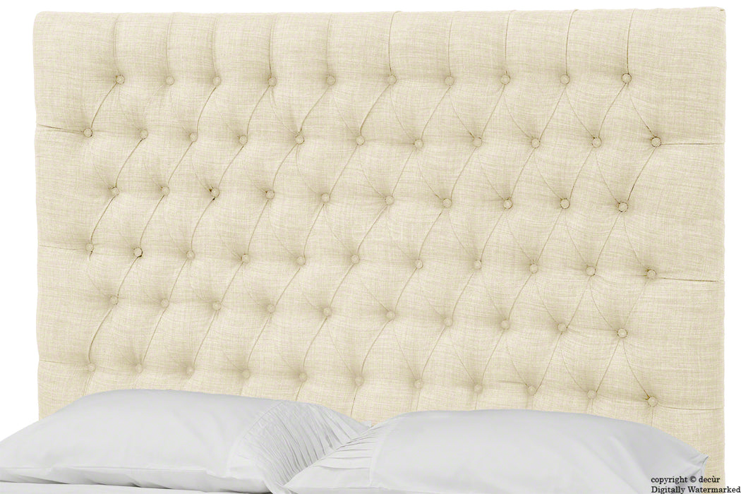 Kensington Linen Upholstered Ottoman Bed - Cream