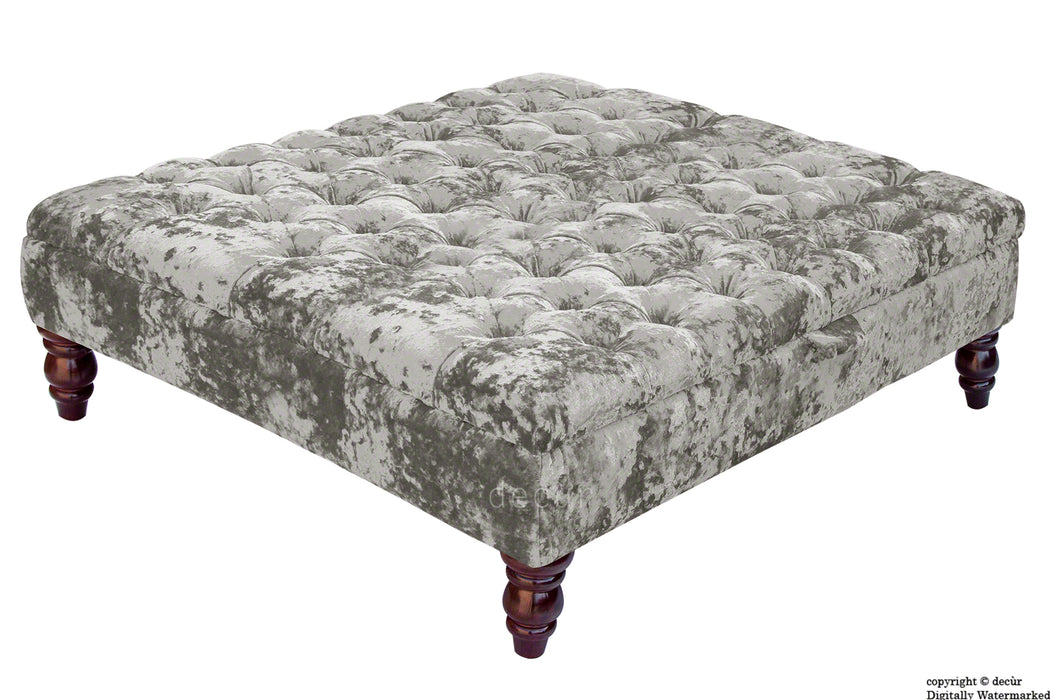 Tiffany Buttoned Crushed Velvet Footstool Large - Mercury with Optional Storage
