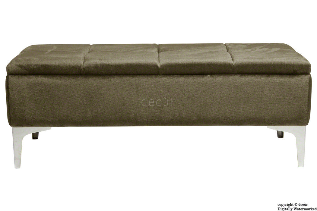 Mila Modern Buttoned Velvet Footstool - Taupe with Optional Storage
