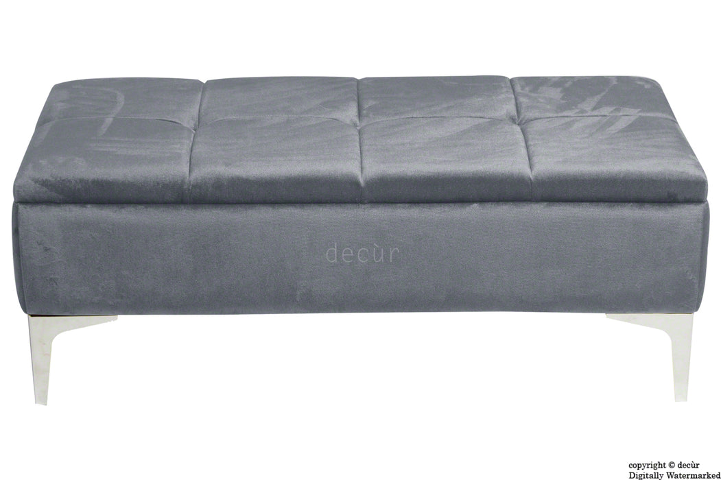 Mila Modern Buttoned Velvet Footstool - Seal with Optional Storage
