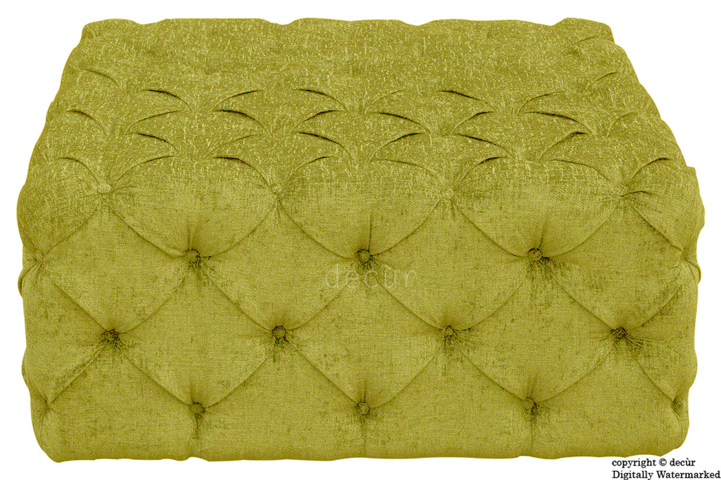 Ralph Buttoned Chenille Ottoman - Lime