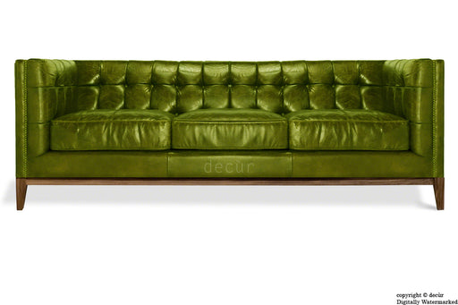Mayfair Leather Sofa - Olive Green