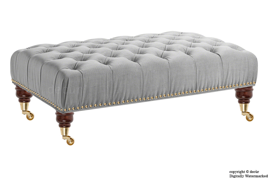 Catherine Buttoned Velvet Footstool - Silver with Optional Storage